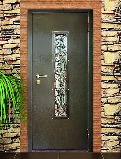 Дверь стальная. Художественное окно с ковкой